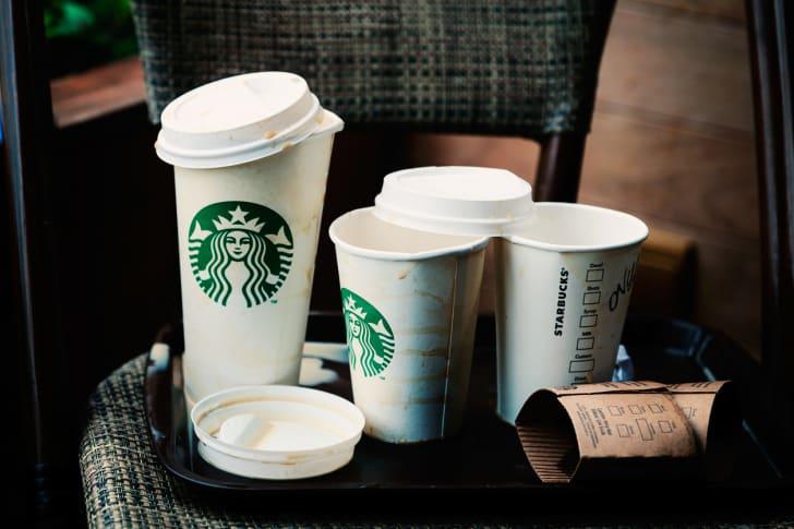 Empty Starbucks paper cups