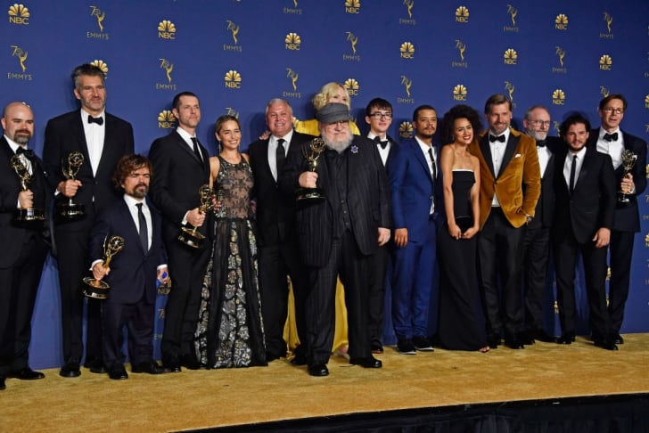 Cast and crew of Outstanding Drama Series winner 'Game of Thrones' pose in the press room during the 70th Emmy Awards at Microsoft Theater on September 17, 2018 in Los Angeles, California