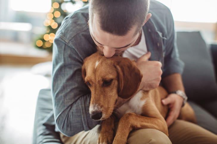 Man hugging his dog.
