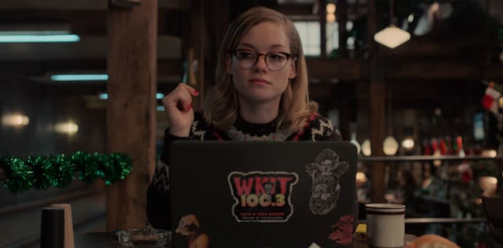 Jane Levy as Jackie Torrance sits in front of a laptop in a screen capture from 'Castle Rock'