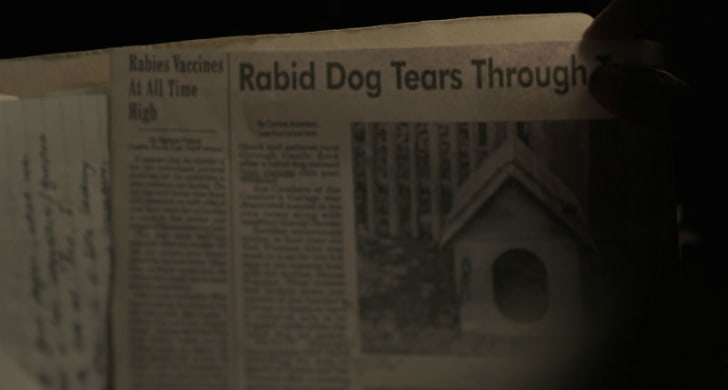 A newspaper clipping describes a dog attack in a screen capture from 'Castle Rock'