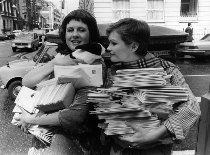 Actresses Fiona Fullerton and Clare Clifford posting some of the many letters sent to the House of Lords and parliamentary candidates to request support for World Day for Laboratory Animals which was instituted that year, 1979.