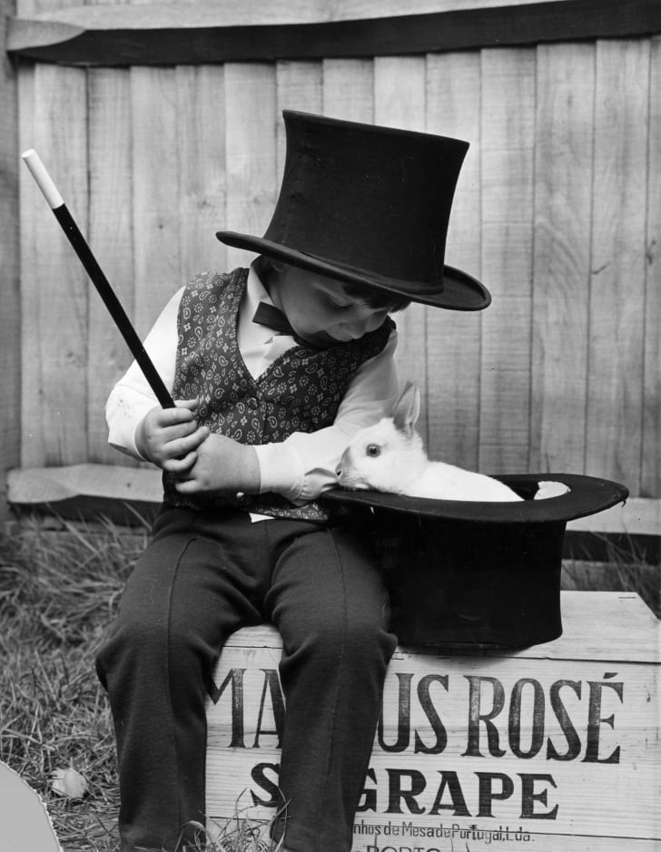 A young magician and his rabbit, 1971.