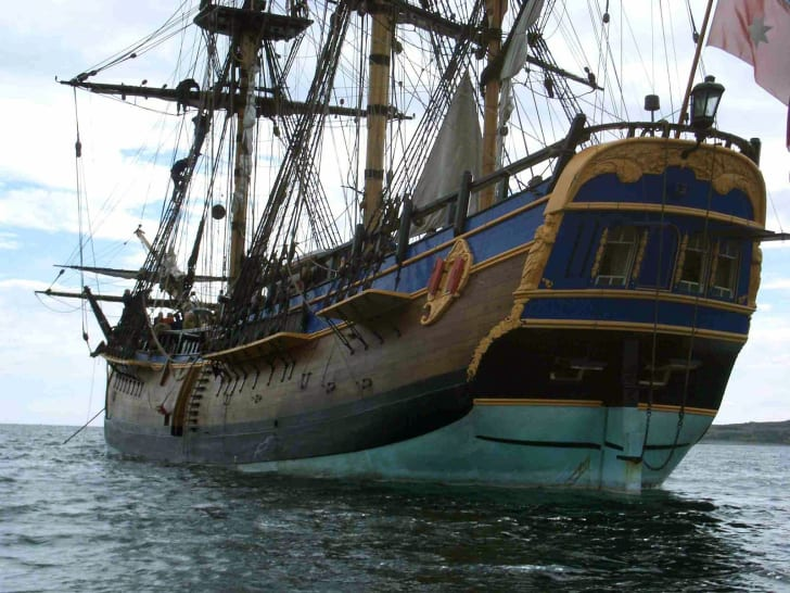 A replica of the 18th-century 'Endeavour' in the ocean