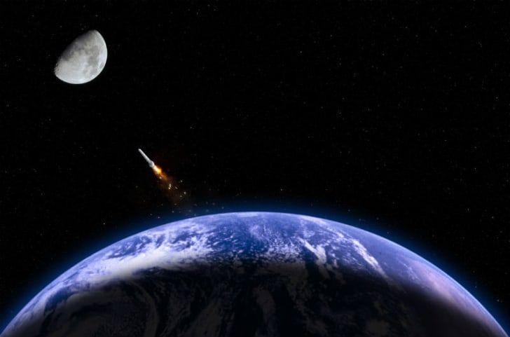 A rocket is propelled into space