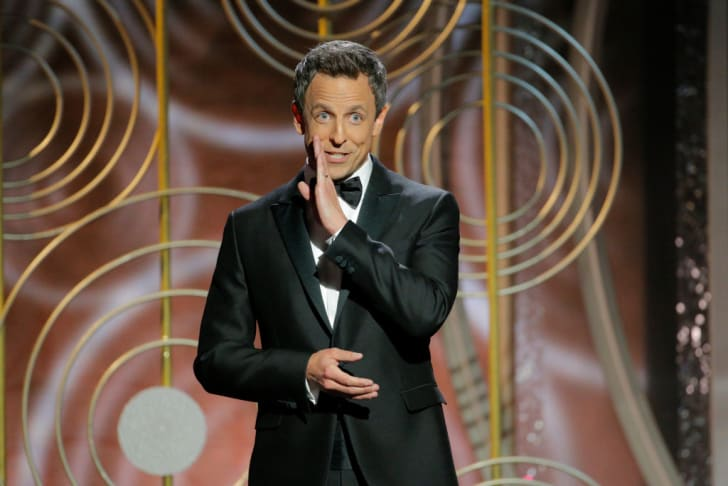 Host Seth Meyers speaks onstage during the 75th Annual Golden Globe Awards at The Beverly Hilton Hotel on January 7, 2018
