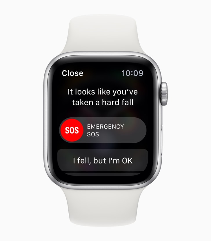 """A message on the watch reads """"It looks like you've taken a hard fall"""" and includes an option to send out an emergency SOS"""