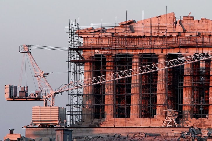 Restoration work on the Parthenon in Athens