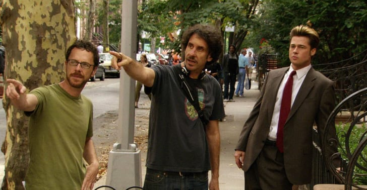 Brad Pitt, Ethan Coen, and Joel Coen in 'Burn After Reading' (2008)