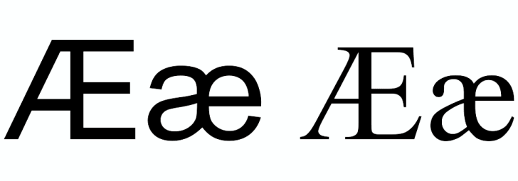 The sans serif and serif versions of the letter Ash in both upper and lowercase.