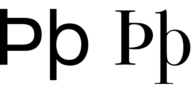 The sans serif and serif versions of the letter Thorn.