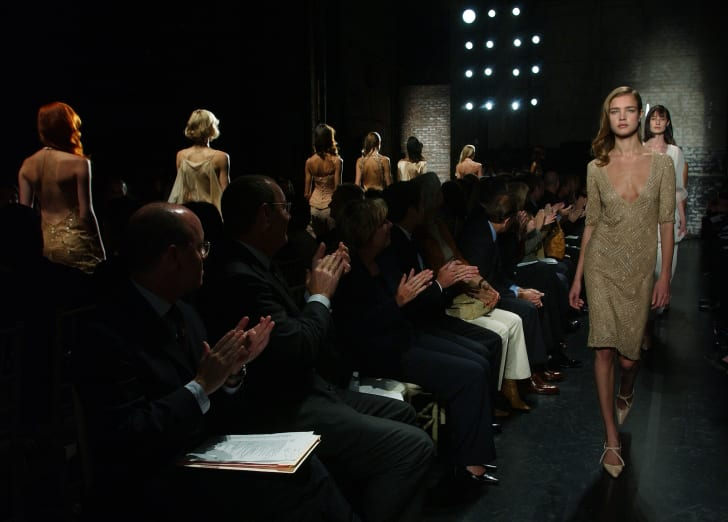 Models walk in the Douglas Hannant show during Fashion Week in September 2002.