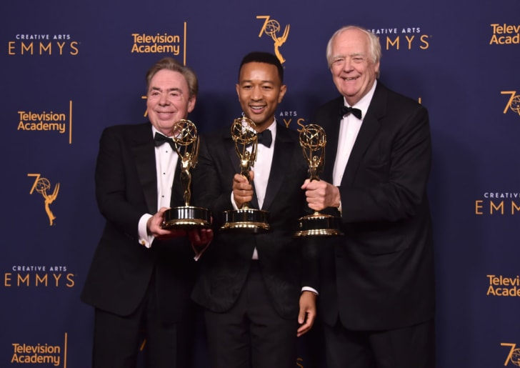 Sir Andrew Lloyd Webber, John Legend and Tim Price pose in the press room during the 2018 Creative Arts Emmys at Microsoft Theater on September 9, 2018 in Los Angeles, California