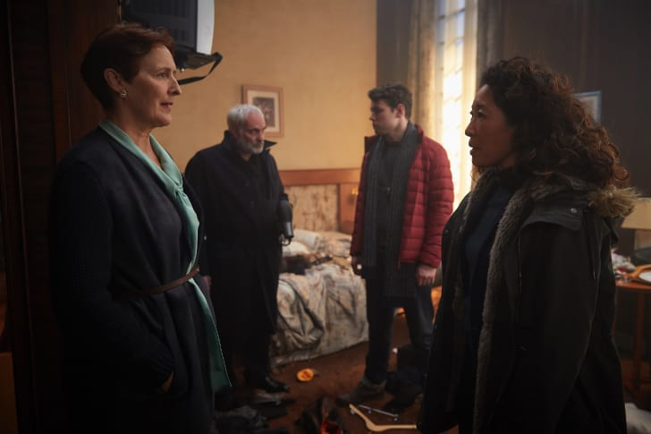 L to R: Fiona Shaw, Kim Bodnia, Sean Delaney, and Sandra Oh in 'Killing Eve'