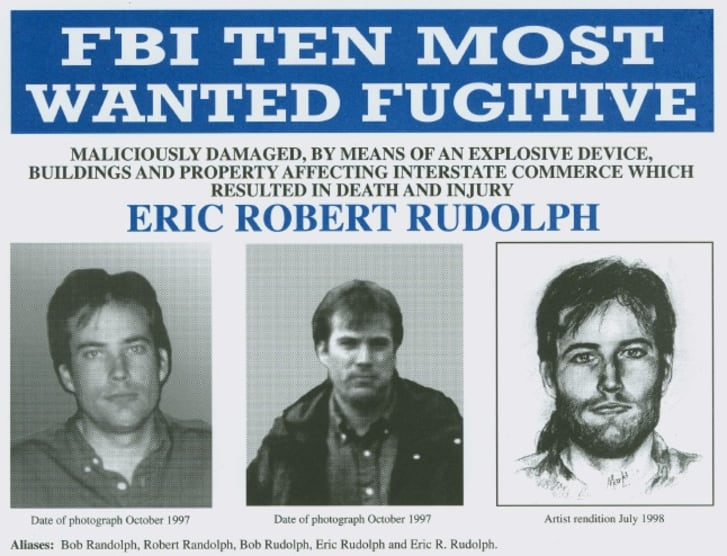 FBI Most Wanted poster for Eric Robert Rudolph