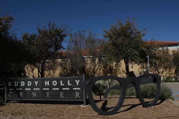 A sculpture of Buddy Holly's glasses in Lubbock, Texas