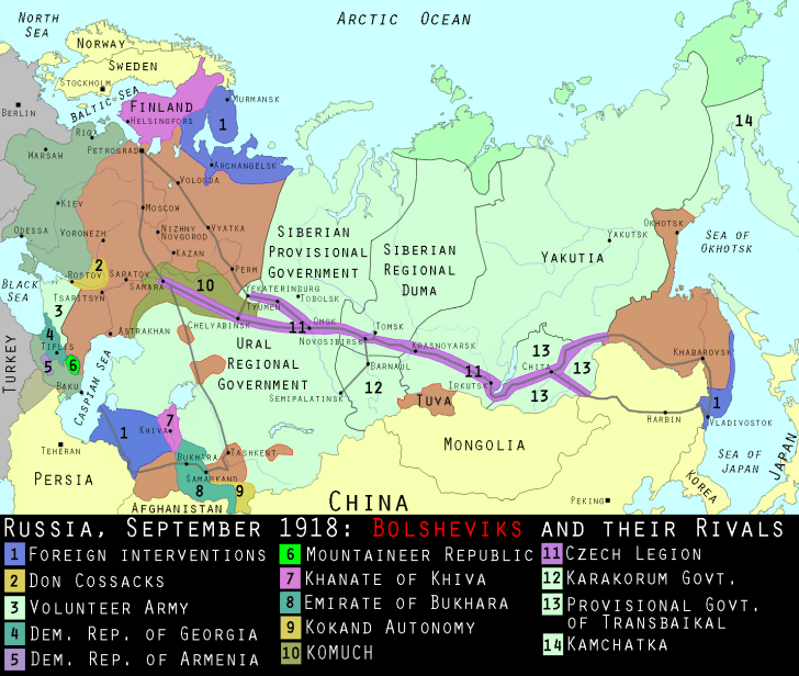 Map of Russian Civil War September 1918