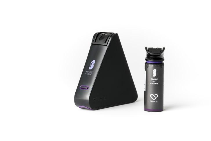 A product shot of the Nima peanut sensor and a test capsule