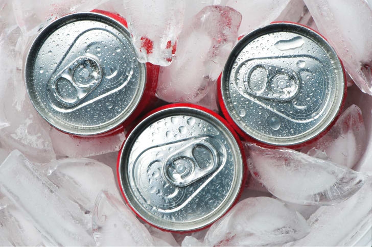 Soda cans on ice.