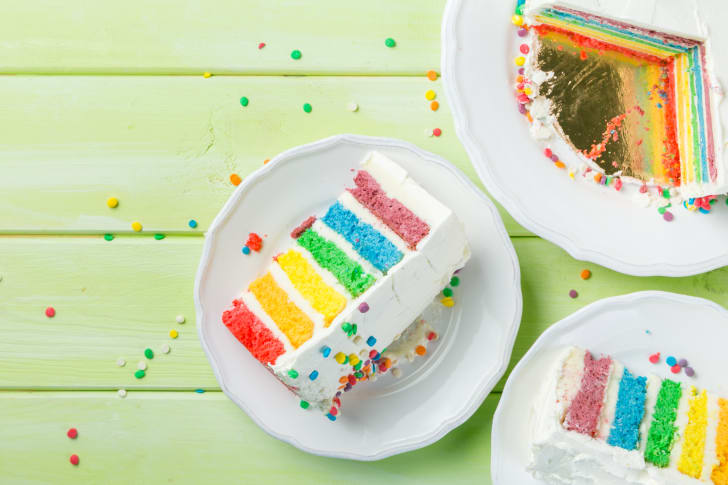 Slices of a rainbow layer cake.