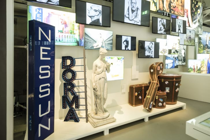 Photographs and art on display at the Lavazza museum