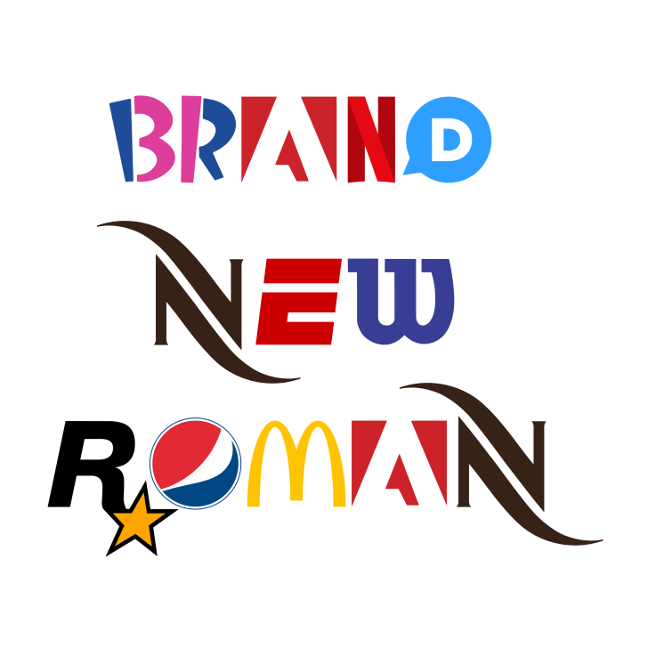 The words 'Brand New Roman' spelled out using the typeface