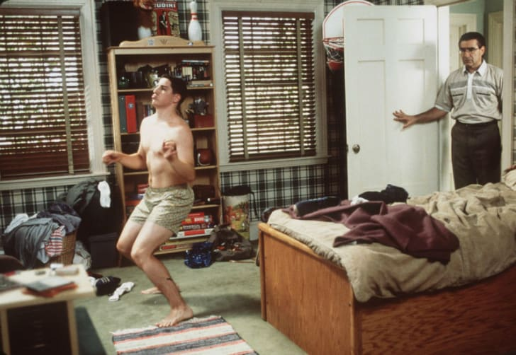 Jason Biggs and Eugene Levy appear in a publicity shot for 'American Pie'