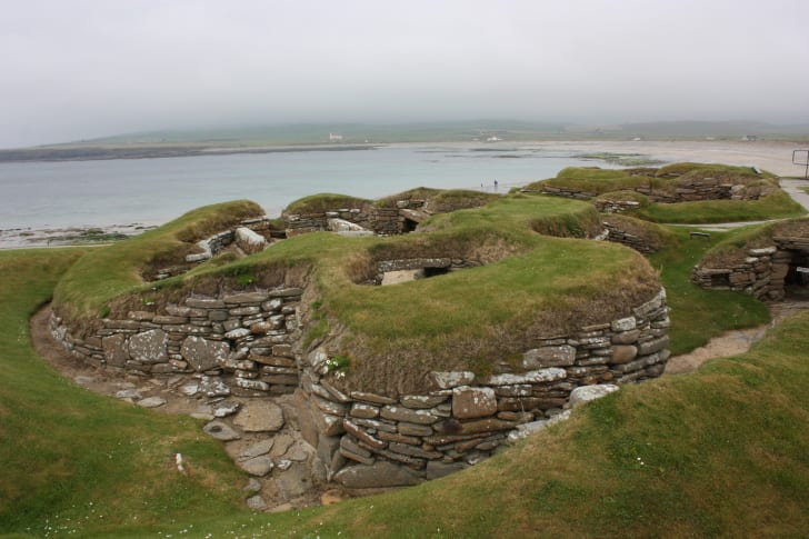 The remains of the ancient town of Skara Brae