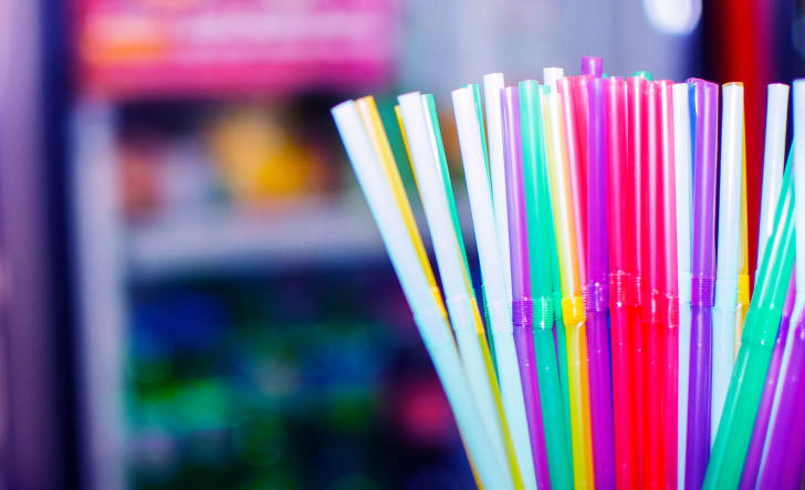 A close-up shot of colorful straws.