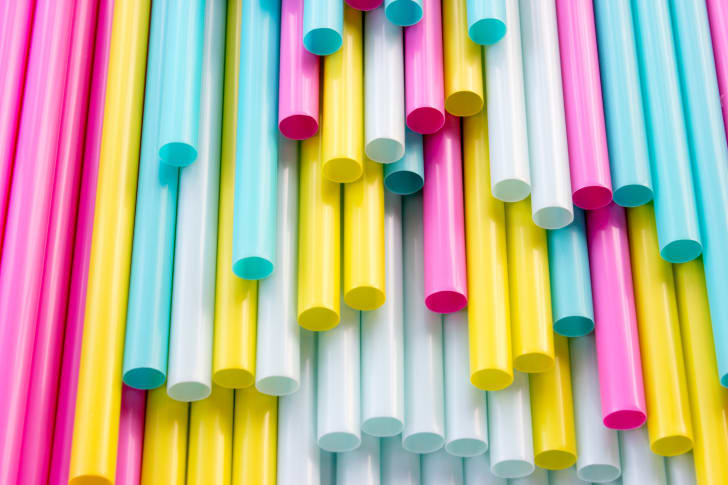 A group of colorful straws.