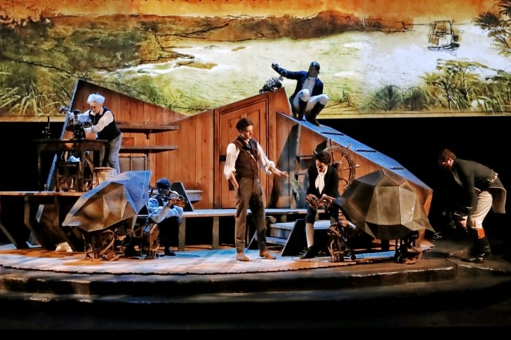 Actors onstage during 'The Wider Earth'