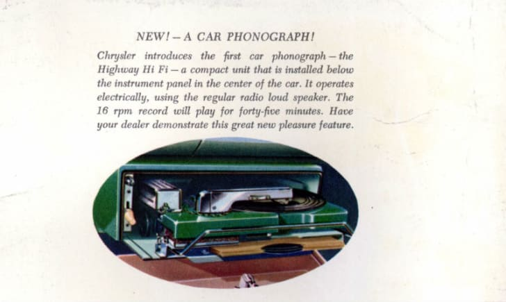 A print ad for a Chrysler car record player