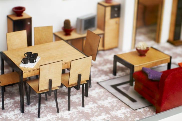 miniature lounge in dollhouse