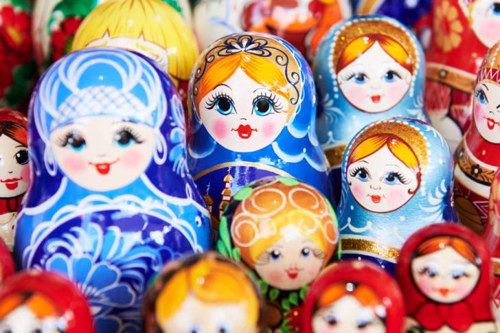 multicolored russian nesting dolls