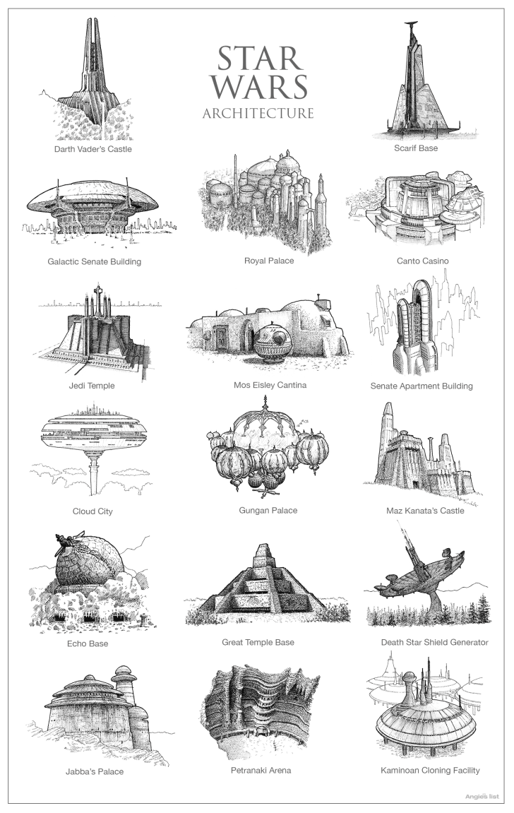 Sketches of fictional architecture.