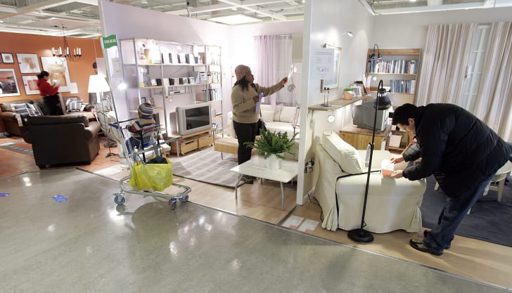 Shoppers look at merchandise at a Ikea store in Paramus, New Jersey