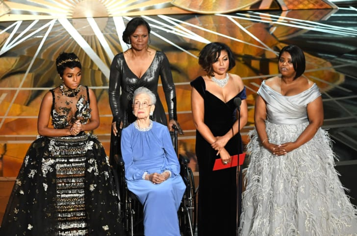 NASA mathematician Katherine Johnson (2nd L) appears onstage with (L-R) actors Janelle Monae, Taraji P. Henson and Octavia Spencer during the 89th Annual Academy Awards at Hollywood & Highland Center on February 26, 2017