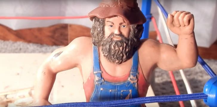 A screen capture of a Hillbilly Jim LJN wrestling action figure