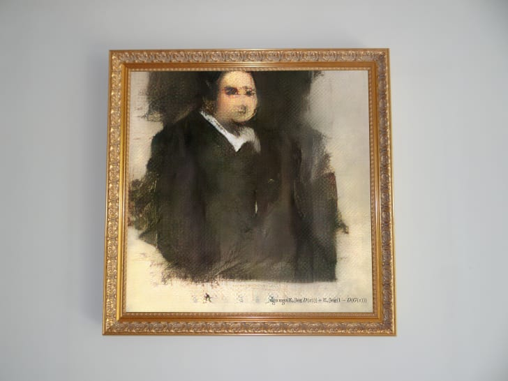 An AI-generated portrait of a man in black clothes with a white collar