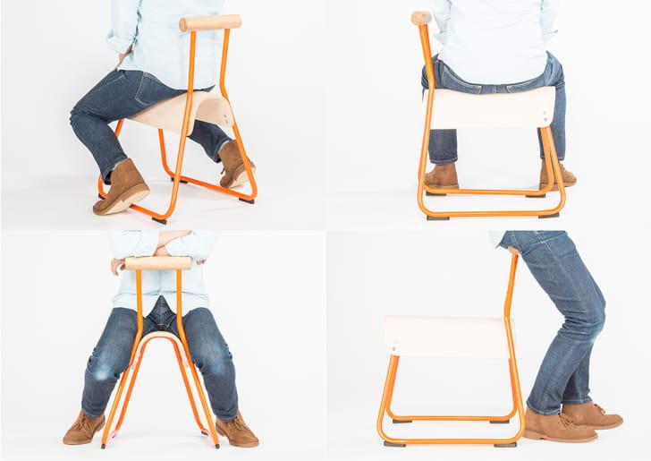 Kid sitting on chair.