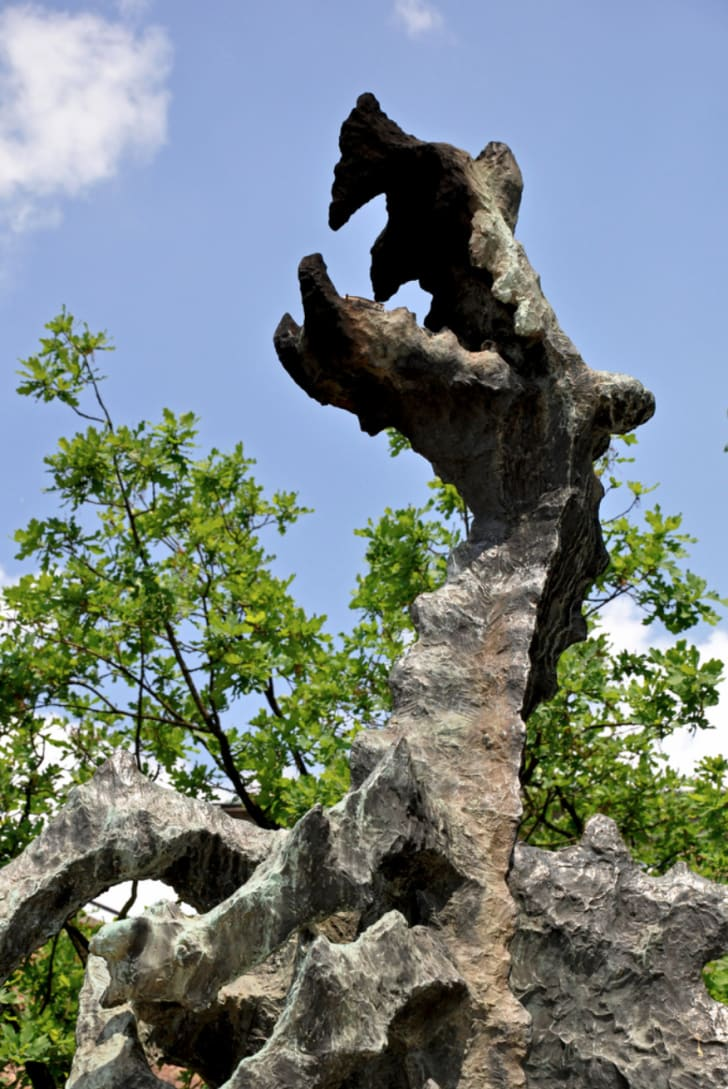 A Wawel dragon sculpture outside the Dragon's Cave in Poland