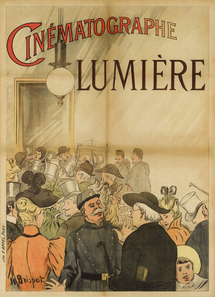 A poster titled Cinema Lumiére shows an illustration of patrons milling around a cafe.