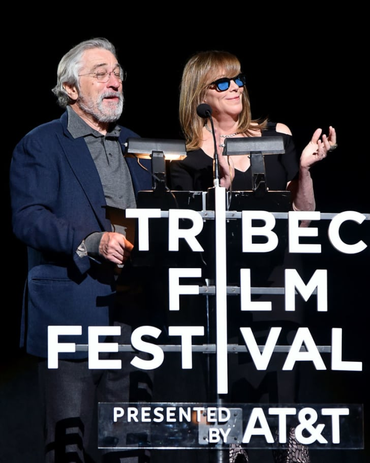 Robert De Niro and Jane Rosenthal speak onstage at the 'Clive Davis: The Soundtrack of Our Lives' Premiere during the 2017 Tribeca Film Festival at Radio City Music Hall on April 19, 2017 in New York City