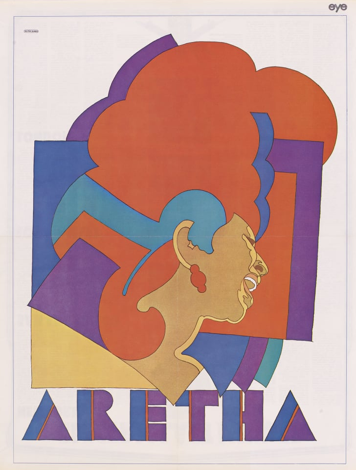 Milton Glaser's lithograph of Aretha Franklin, which is displayed at The National Portrait Gallery