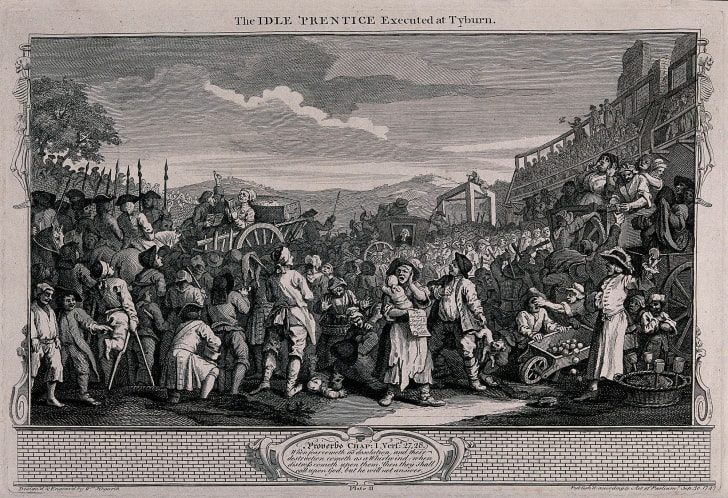 A crowd of spectators wait as Tom Idle is driven in a cart with his coffin to his place of execution and the gallows. Engraving by William Hogarth, 1747