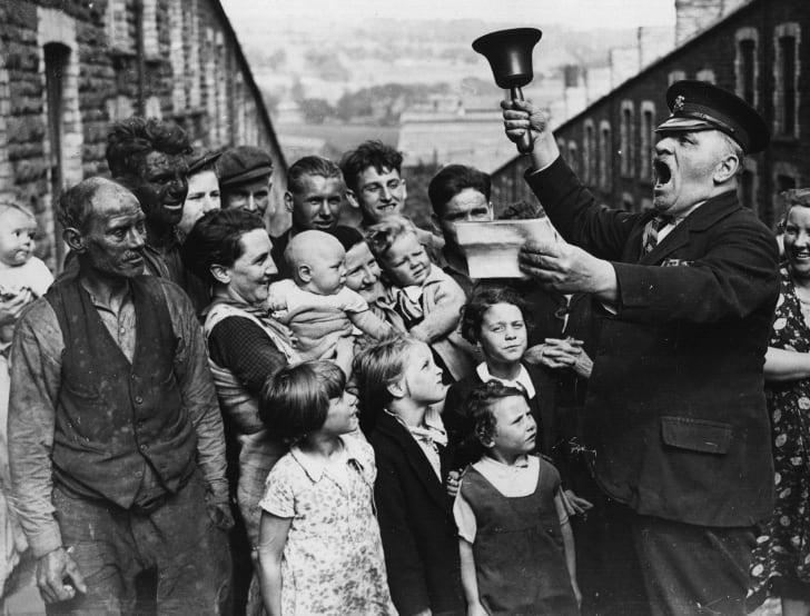 A town crier in Wales, circa 1938.