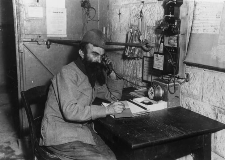 A French telegraphist in 1917, during World War I.