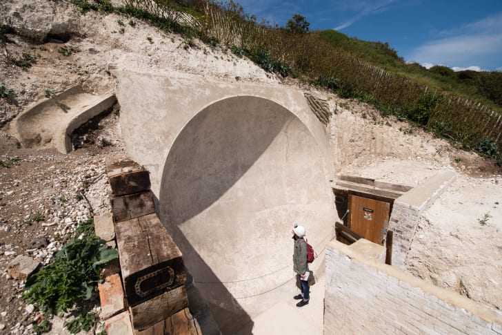 A sound mirror that was built into the cliffs of Dover, England during the first world war.