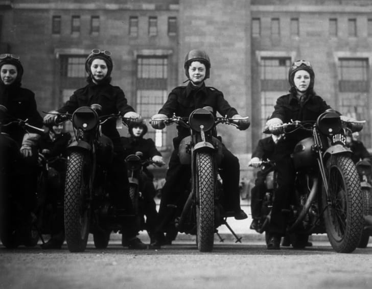 Ministry of Information dispatch riders on their motorbikes, circa 1940.