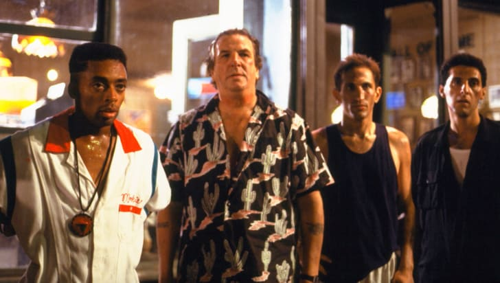 Spike Lee, Danny Aiello, John Turturro, and Richard Edson in 'Do the Right Thing' (1989)